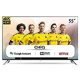 CHiQ Televisor Smart TV LED 55 Pulgadas, Resolución 4K UHD, Android 9.0, WiFi, Bluetooth, Google Play Store, Google Assistant, Netflix, Prime Video, HDMI ARC, USB - U55H7A