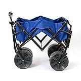 Mac Sports Heavy Duty Collapsible Folding All Terrain Utility Wagon Beach Cart with Table - Blue