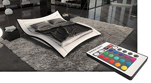 Bett SEDUCCE 180x220 cm Designerbett Ehebett Doppelbett Hotelbett mit LED-Beleuchtung Kunstleder - weiß/schwarz
