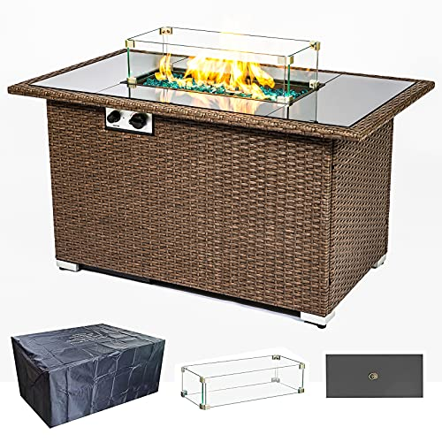 44 inch Gas Fire Pit Table for Outside, 50,000 BTU Square Outdoor Propane Fire Pits Table for Garden Patio Courtyard, Adjustable Flame with Lid and Dust Cover,ETL Certification, Wicker Base