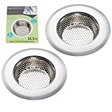 Fengbao 2PCS Kitchen Sink Strainer - Stainless Steel, Large Wide Rim 4.5' Diameter