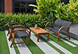Amazonia Manhattan 4-Piece Patio Deep Seating Set | Eucalyptus Wood | Ideal for Outdoors and Indoors