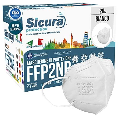 20 Mascherine FFP2 Certificate CE Italia Adulti BFE ≥99% Made in Italy. Mascherina ffp2 SANIFICATA e sigillata...