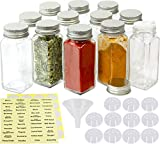SimpleHouseware Spice Jars 4 Ounce Square Bottles w/label, 12 Pack