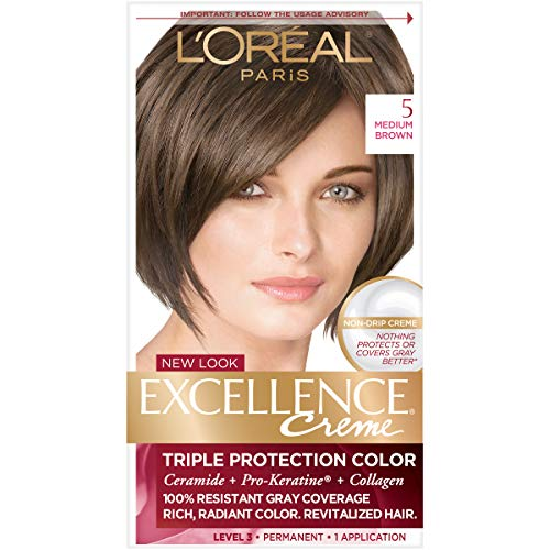 L'Oreal Paris Excellence Creme Permanent Hair Color, 5 Medium Brown, 100% Gray Coverage Hair Dye, Pack of 1