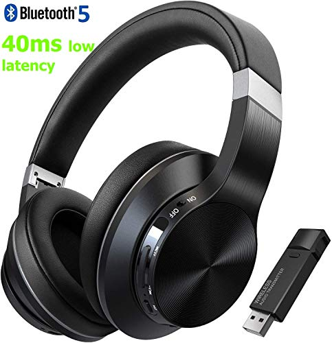 TOKSEL Wireless Gaming Headphones Set w/Noise Cancelling Microphone & Bluetooth USB Audio Adapter for PC PS4 Desktop Nintendo Switch, Chat & Music Simultaneously, 40ms Low Latency, 15hrs Play Time