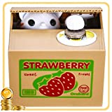 HmiL-U Toy Banks Automatic cat Stealing Coins Birthday&Christmas Gifts for Kids (Strawberry-Cat)
