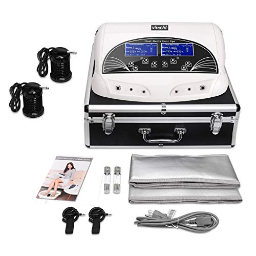 Vitaciti Dual Ionic Detox Foot Bath Machine Digital LCD Display Spa Chi Cleanse Cell Detoxification Machine with Black Aluminum Box, Two Arrays Holiday Gift