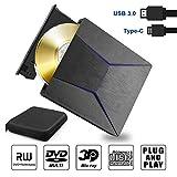 Yomera Lecteur Graveur Blu Ray DVD Externe 3D, Portable Blu-Ray Lecteur USB 3.0 & Type-C Graveur CD DVD-RW ROM Compatible avec Windows XP/7/8/10, Vista, MacOS pour MacBook, Laptop, Desktop