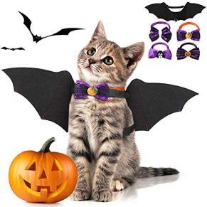 Fansport 5 Pcs Halloween Ropa para Mascotas,Alas De Murciélago para Mascotas para Perros y Gato con 4 Collares Bowtie…