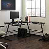 Walker Edison Ellis Modern Glass Top L Shaped Corner Gaming Desk with Computer Keyboard Tray, 51...