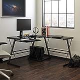 Walker Edison Ellis Modern Glass Top L Shaped Corner Gaming Desk with Computer Keyboard Tray, 51 Inch, Black