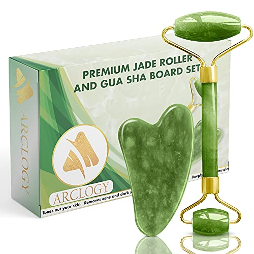 ARCLOGY Jade Roll, Gua Sha Jade Roller Authentic Massager, Natural Roller Anti Aging...