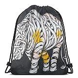 Hangdachang Mochila de elefante con cordón, bolsa de gimnasio, bolsa de cuerda, diseño de rinoceronte