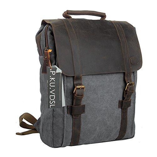 Canvas Backpack, P.KU.VDSL 15' Laptop Backpack Vintage Canvas and Leather Rucksack Travel Bag Daypacks for Men Outdoor Sports Recreation (Grey-20)