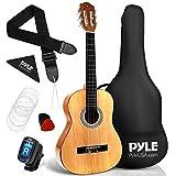 "Beginner 30"" Classical Acoustic Guitar - 1/4 Junior Size 6 String Linden Wood Guitar w/ Gig Bag, Tuner, Nylon Strings, Picks, Strap, For Beginners, Adults - Pyle PGACLS30"