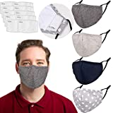 Reusable Face Mask with Filter Pocket Adjustable EarLoops Protection, Breathable Washable Cloth...