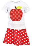 Unique Baby Girls Back to School Apple Skirt Boutique Outfit (8/XXXL, Red)