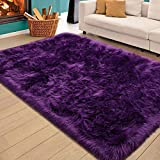Homore Soft Fluffy Faux Fur Area Rug for Bedroom Living Room, Extra Comfy and Fuzzy Rugs, Washable Plush Carpet for Bed Home Decor, 3x5 Feet Purple