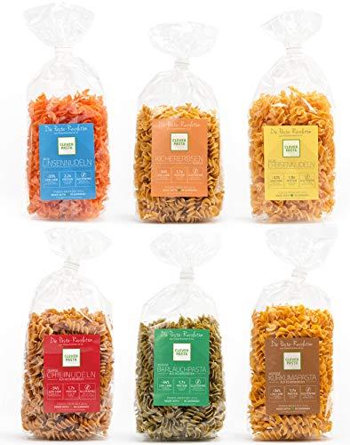 Clever Pasta 6er Startpaket - versch. Sorten: Weniger Kohlehydrate, mehr Eiweiß