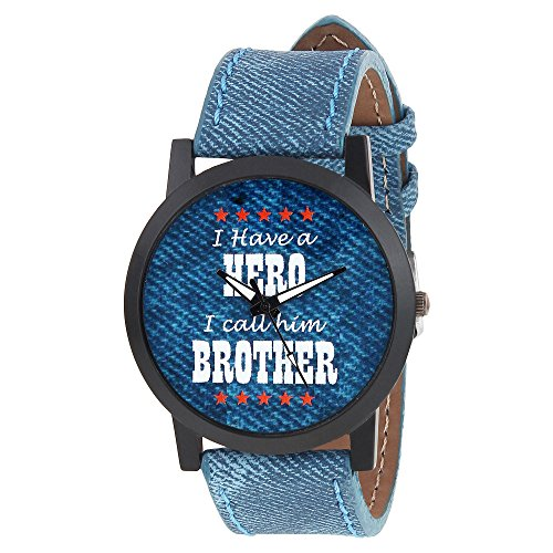 Relish Mens Boys Denim Slim Analog Display Quartz Watch for Brothers | RE-S8103BD | Gift for Brother