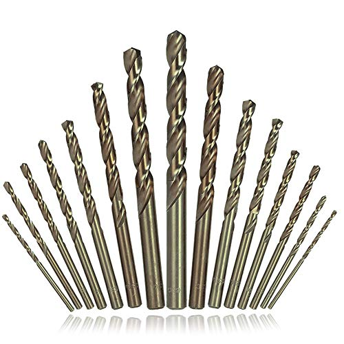Afunta - Juego De 15 Brocas Helicoidales De Acero Inoxidable Para Metal Duro, Hierro Fundido, Madera, Titanio