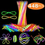 Attikee 448 PCS Glow Sticks Bulk for Glow Party Supplies - (8 Inch, 7 Colors), 200 PCS Bendable Glow Sticks & 248 PCS Connectors for Eyeglasses, Balls, Flowers, Necklaces, Butterfly and Triple Bracelets, Glow in Dark Non-Toxic Light Sticks for Kids Adults