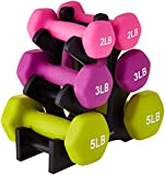 Amazon Basics Neoprene Workout Dumbbell Hand Weights, 20 Pounds Total, Pink/Purple/Green - 3 Pairs (2-Lb, 3-Lb, 5-Lb) & Weight Rack