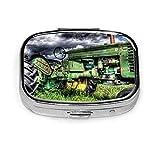 Pastillero: pastillero con compartimentos, pastillero cuadrado, se puede utilizar para monedero, pastillero de viaje antiguo tractor de granja antiguo