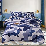 Btargot Camouflage Comforter Sets, Illustration with Abstract Soft Colors Pattern Camouflage Design, Decorative 1 Piece Comforter with 2 Pillow Shams, Twin Size, Blue