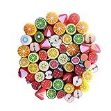 50Pcs 3D Nail bâton mignon de fruits Fimo Canes Rods argile polymère...