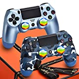 Christmas Wireless PS4 Controller 2 Pack Remote for Sony Playstation 4 - AUGEX Joystick PS4 Remote Control with Gift Box,Great Gift Choice for Kids,Son,Man(Blue Camouflage and Titanium Blue)