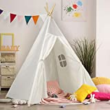 Kids Teepee Tent Children Play Tent 5 ft Raw White Cotton Canvas Four Wooden Poles Thick Cushion Mat LED Light Banner Carry Case Indoor Outdoor Playhouse for Girls and Boys Childrens Room Decor