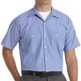 Red Kap Men's Industrial Stripe Work Shirt, GM Blue/White Stripe, Short Sleeve X-Large