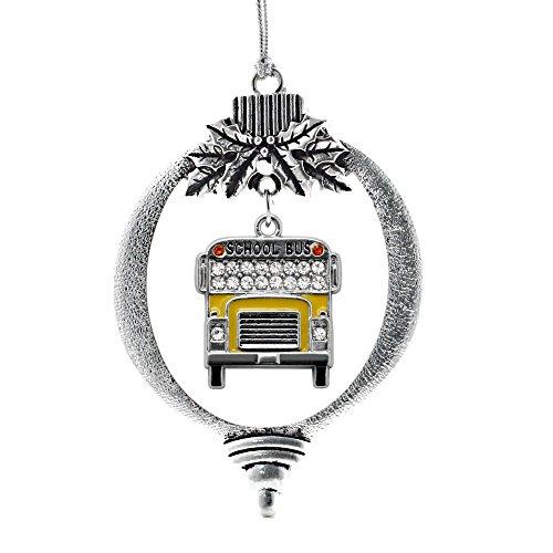 Inspired Silver - Half Carat School Bus Charm Ornament -...