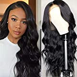 Ucrown Hair Lace Front Wigs Brazilian Body Wave Human Hair Wigs For Black Women (16 inch) 150% Density Pre Plucked with Baby Hair Natural Black