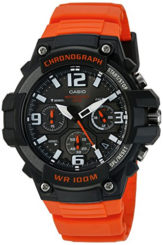 Casio Men's 'Heavy Duty Chronograph' Quartz Stainless Steel and Resin Casual Watch, Color:Orange...