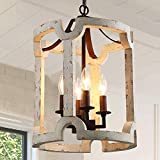 KSANA Farmhouse Chandelier, White Drum Chandelier in Hand-Painted White Finish for Dining Rooms, Living Rooms, Foyer, W13'xH18.1'