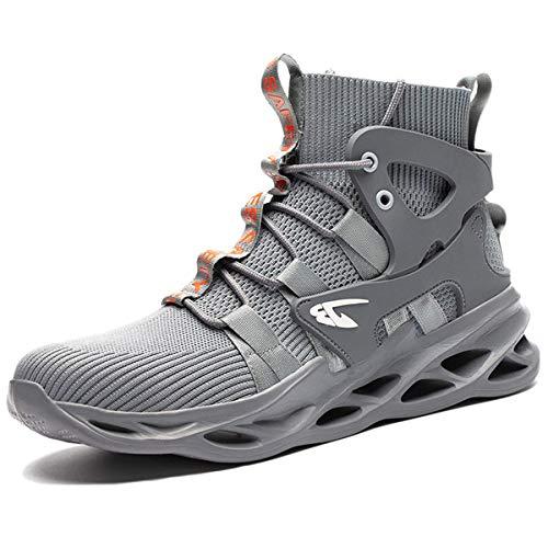 [tqgold] 安全靴 スニーカー 作業靴 メンズ レディース ハイカット ブーツ 鋼先芯 軽量 通気性 耐滑 防刺 耐摩耗 ワークシューズ セーフティーシューズ バイク 靴 (グレー 29.0cm)