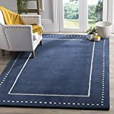 Safavieh Bella Collection BEL151G Handmade Wool Area Rug, 3' Square, Navy Blue/Ivory