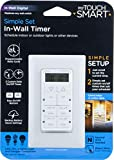 myTouchSmart 24-Hour in-Wall Digital Timer, 4 Programmable Easy On/Off Buttons, Daily Cycle, Simple Setup, Battery Backup, for Indoor/Outdoor Lights, Fans, 26893, 1, 2 Custom On/Off