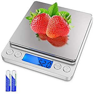 Precise weight: Accurate, elegant, easy-to-use digital kitchen scale for your largest and smallest cooking projects - weighs up to 6.61 lbs (3000 grams) with precise graduations of 0.01 oz (0.1 gram). Multifunction scale: Automatic unit button instan...