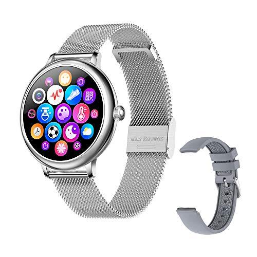 Orologio Fitness Tracker per Donna - Smartwatch Sportivo Impermeabile IP67 con Frequenza Cardiaca, Pressione Sanguigna, Sonno, Contacalorie, Contapassi, SMS per IOS Android (Argento)