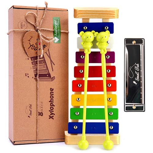 Xylophone for Kids and Toddlers with Harmonica, Wooden Musical Instrument for Baby Boys and Girls, Glockenspiel for Mini Musicians with Mallets and Music Cards, Best for Birthday and Stocking Stuffer