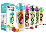 Live Infinitely 32 oz. Infuser Water Bottles - Featuring a Full Length Infusion Rod, Flip Top Lid, Dual Hand Grips & Recipe Ebook Gift (Bright Teal, 32 oz)