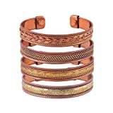 Set of 4 Tibetan Copper Bracelets Magnetic India Pattern Women's Men's Spiritual Yoga Jewelry (Style -1)
