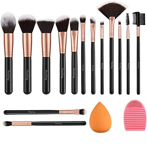 Pinceaux Maquillages 14 PCS Set Pinceaux Maquillage Rose Doré avec Eponge Maquillage et Brosse De Nettoyage Synthétiques Haut De Gamme pour fond De Teint Mélange Poudre Le Visage Ombres à Paupières