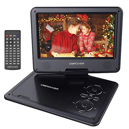DBPOWER 11.5' Portable DVD Player with 9' Swivel Screen, 5-Hour Built-in Rechargeable Battery, Support CD/DVD/SD Card/USB, with 1.8 Meter Car Charger and Power Adaptor (Black)