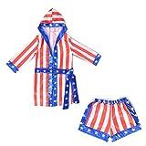 Boys Boxing Champion Costume Hooded Boxing Robe Set Kids Halloween Fancy Dress (American Flag Robe + Shorts, S)