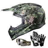 GLX Unisex-Child GX623 DOT Kids Youth ATV Off-Road Dirt Bike Motocross Helmet Gear Combo Gloves Goggles for Boys & Girls (Camouflage Green, Large)
